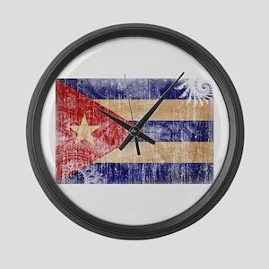 Cuba Flag Large Wall Clock