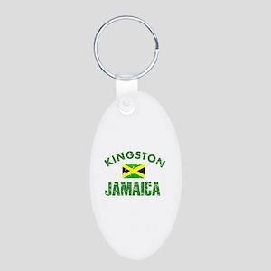 Kingston Jamaica designs Aluminum Oval Keychain