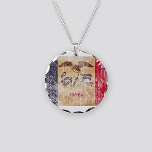Iowa Flag Necklace Circle Charm
