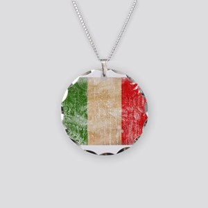 Italy Flag Necklace Circle Charm