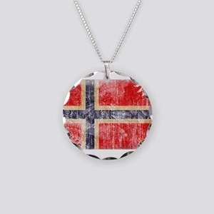 Norway Flag Necklace Circle Charm