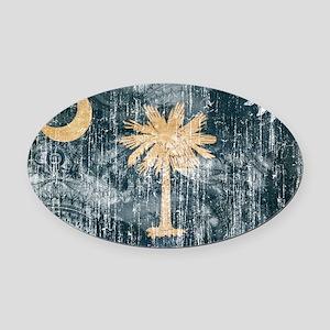 South Carolina Flag Oval Car Magnet