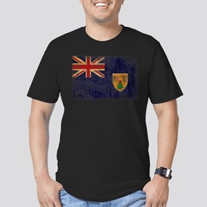 Turks and Caicos Flag Men's Fitted T-Shirt (dark)