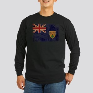 Turks and Caicos Flag Long Sleeve Dark T-Shirt