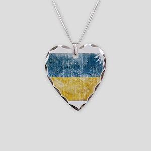 Ukraine Flag Necklace Heart Charm