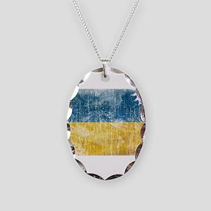 Ukraine Flag Necklace Oval Charm