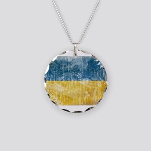 Ukraine Flag Necklace Circle Charm