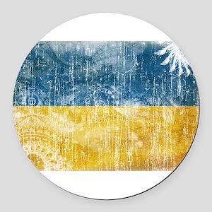Ukraine Flag Round Car Magnet