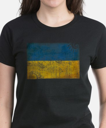 Ukraine Flag Women's Dark T-Shirt