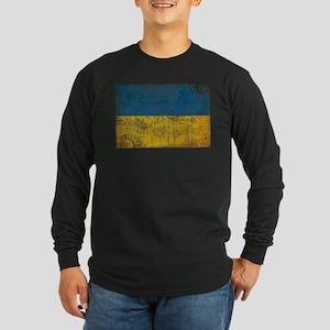 Ukraine Flag Long Sleeve Dark T-Shirt