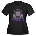 Trucker Alexandra Women's Plus Size V-Neck Dark T-