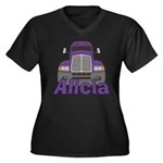 Trucker Alicia Women's Plus Size V-Neck Dark T-Shi