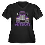 Trucker Alison Women's Plus Size V-Neck Dark T-Shi