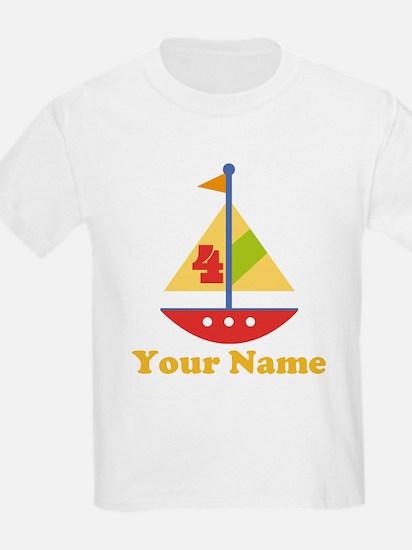 Personalized 4th Birthday Sailboat T-Shirt