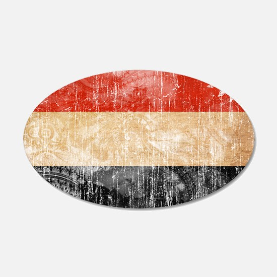 Yemen Flag 22x14 Oval Wall Peel