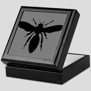 Wasp Silhouette on Grey Keepsake Box