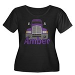 Trucker Amber Women's Plus Size Scoop Neck Dark T-