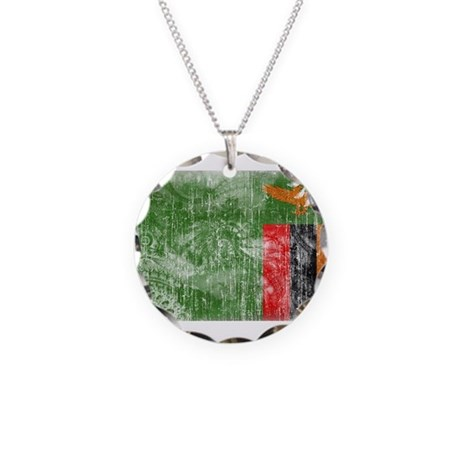 Zambia Flag Necklace Circle Charm