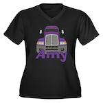 Trucker Amy Women's Plus Size V-Neck Dark T-Shirt