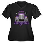 Trucker Angela Women's Plus Size V-Neck Dark T-Shi