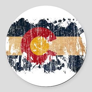 Colorado Flag Round Car Magnet