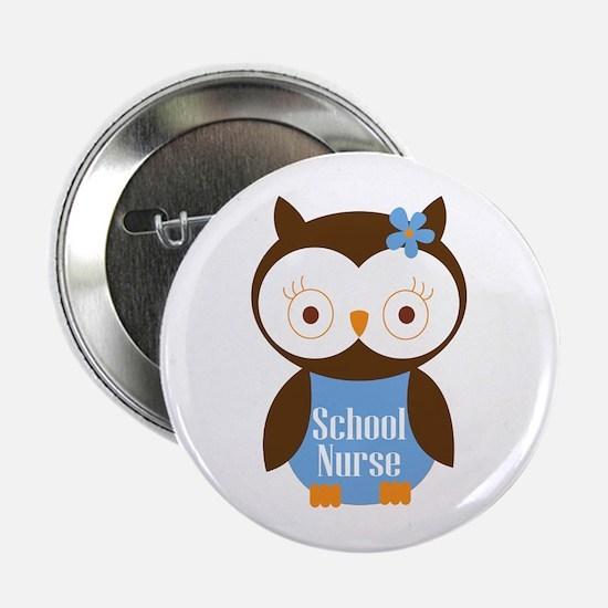 """School Nurse Owl 2.25"""" Button"""