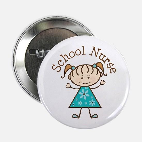 """School Nurse Stick Figure 2.25"""" Button"""