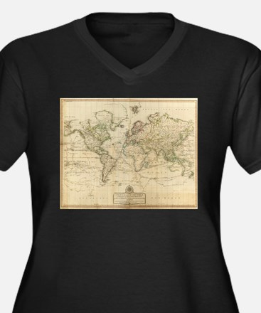 Vintage Map of The World (1800) Plus Size T-Shirt