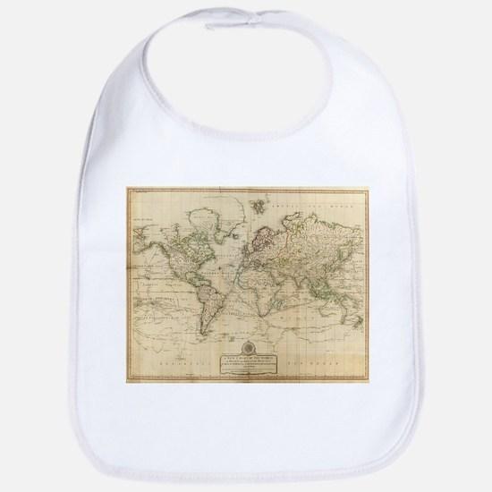 Vintage Map of The World (1800) Baby Bib