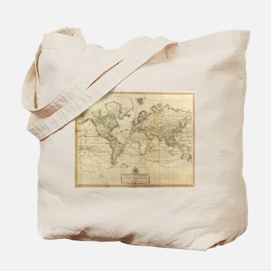 Vintage Map of The World (1800) Tote Bag