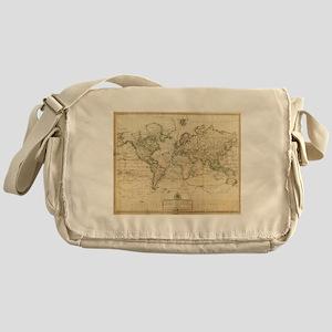 Vintage Map of The World (1800) Messenger Bag