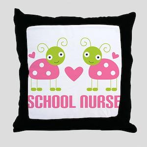 School Nurse Ladybug Throw Pillow