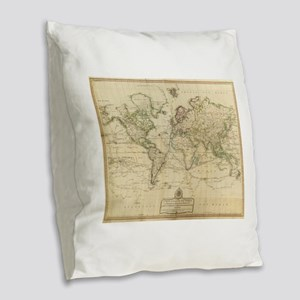 Vintage Map of The World (1800 Burlap Throw Pillow