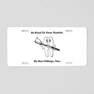 Dentist Filling Black Aluminum License Plate