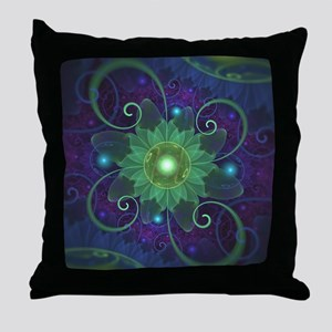 Glowing Blue-Green Fractal Lotus Lily Throw Pillow