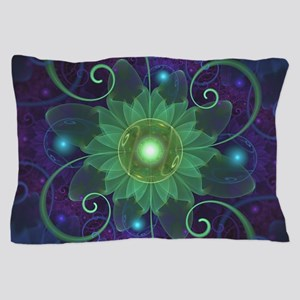 Glowing Blue-Green Fractal Lotus Lily Pillow Case