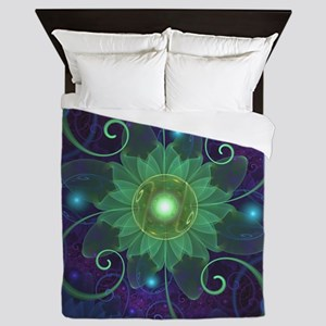 Glowing Blue-Green Fractal Lotus Lily Queen Duvet