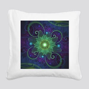 Glowing Blue-Green Fractal Lo Square Canvas Pillow