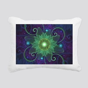Glowing Blue-Green Fract Rectangular Canvas Pillow