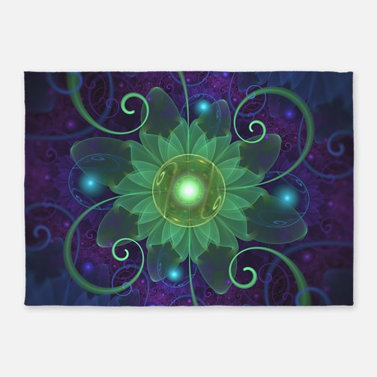 Glowing Blue-Green Fractal Lotus Li 5'x7'Area Rug