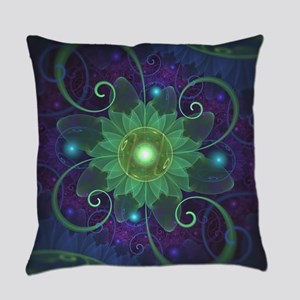 Glowing Blue-Green Fractal Lotus L Everyday Pillow