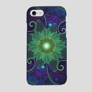 Glowing Blue-Green Fractal Lot iPhone 7 Tough Case