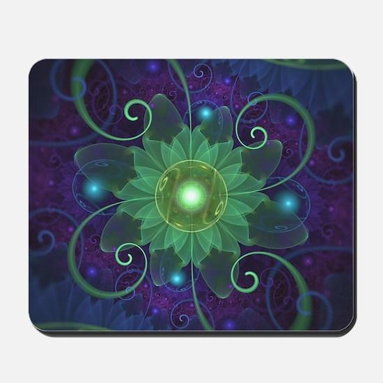 Glowing Blue-Green Fractal Lotus Lily Pa Mousepad
