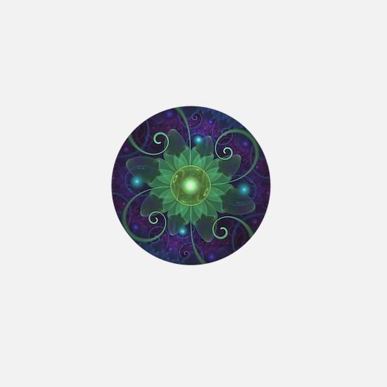 Glowing Blue-Green Fractal Lotus Lily Mini Button