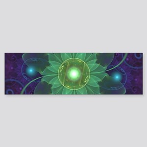 Glowing Blue-Green Fractal Lotus Li Bumper Sticker