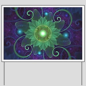 Glowing Blue-Green Fractal Lotus Lily Pa Yard Sign
