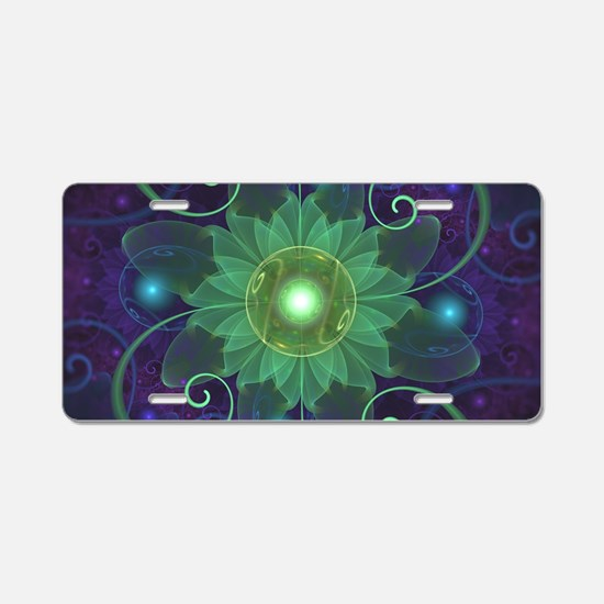 Glowing Blue-Green Fractal Aluminum License Plate