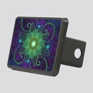 Glowing Blue-Green Fractal Rectangular Hitch Cover