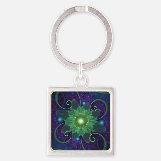 Glowing Blue-Green Fractal Lotus Lily Pa Keychains