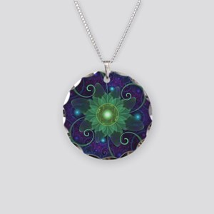 Glowing Blue-Green Fractal L Necklace Circle Charm